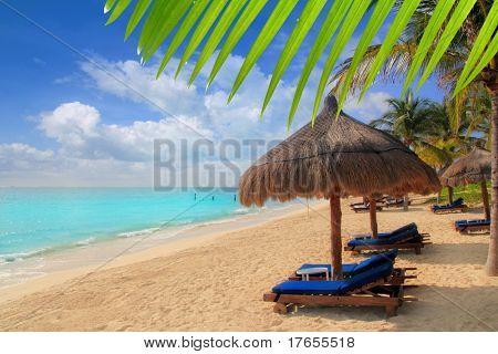 Mayan Riviera tropical beach palm trees sunroof turquoise Caribbean sea