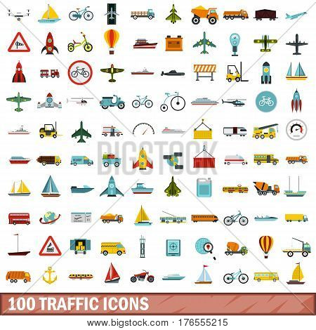 100 traffic icons set in flat style for any design vector illustration