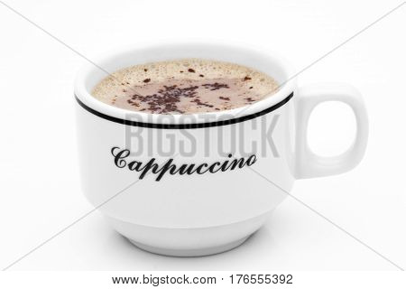 Top view of hot cappuccino cup isolated on white background