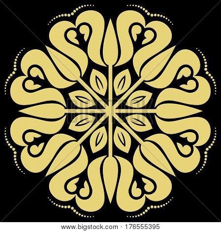 Elegant round golden ornament in the style of barogue. Abstract traditional pattern with oriental elements