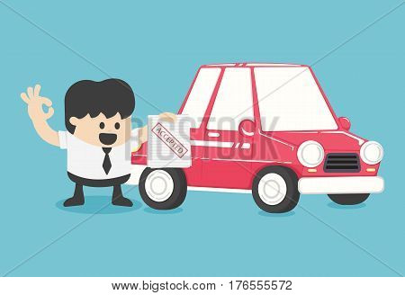 Businessmen make car purchase contractsaccepted eps. 10