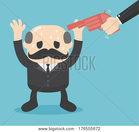 Gun point to businessman head. Business concept boss