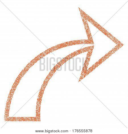 Redo vector textured icon for overlay watermark stamps. Fabric orange vectorized texture. Symbol with scratched design. Rubber seal stamp with fiber textile structure.