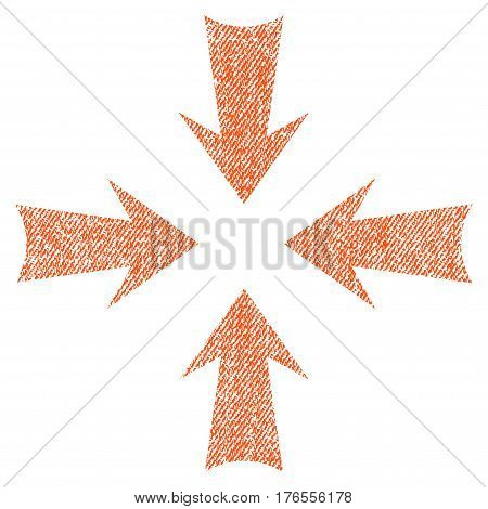 Reduce Arrows vector textured icon for overlay watermark stamps. Fabric orange vectorized texture. Symbol with dust design. Rubber seal stamp with fiber textile structure.