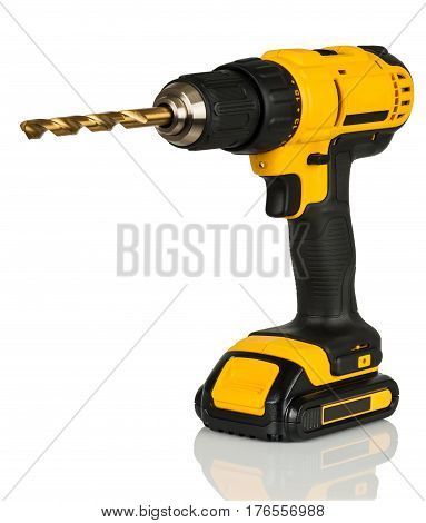 cordless drill driver and a drill on a white background