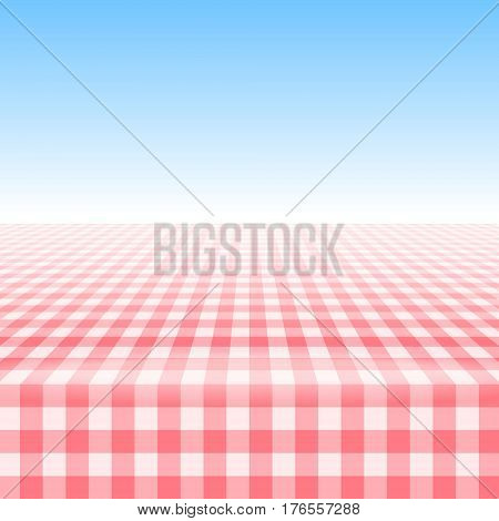 Empty picnic table covered with checkered gingham tablecloth. Clear blue sky background. Summer picnic background for product presentation Vector illustration. Red gingham pattern.