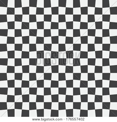 Unequal checks abstract checkered background. Vector illustration. Background with black and white checkered racing flag. Seamless vector pattern. Opt Art.