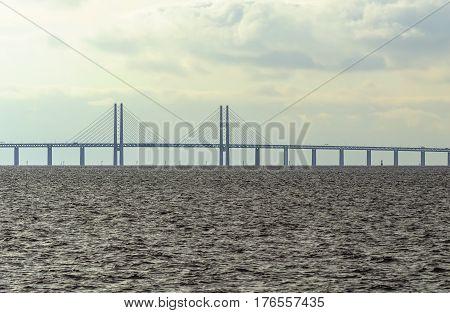 Malmo Sweden March 072017. The bridge to the continent between Malmo Sweden and Copenhagen Denmark.