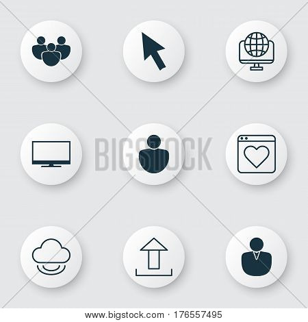 Set Of 9 Internet Icons. Includes Team, Followed Website, Display And Other Symbols. Beautiful Design Elements.