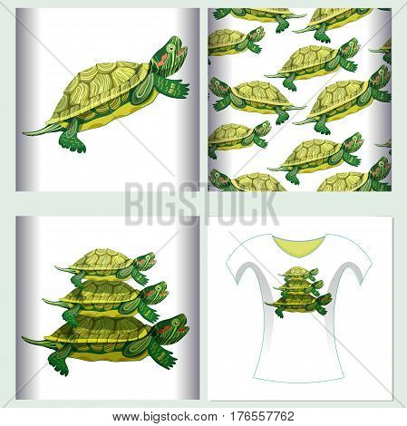 Set For T-shirt Design Seamless Pattern Pond Slider Turtle Green Smiling   Vector Illustration