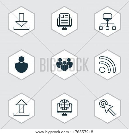 Set Of 9 World Wide Web Icons. Includes Team, Blog Page, Wifi And Other Symbols. Beautiful Design Elements.