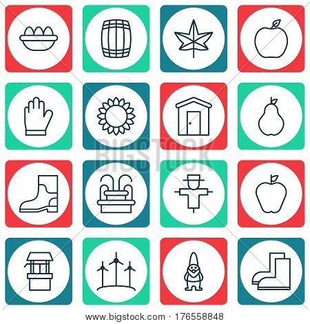 Set Of 16 Gardening Icons. Includes Nectarine, Water Source, Gardening Shoes And Other Symbols. Beautiful Design Elements.