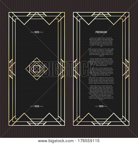 Vector geometric frame in Art Deco style. Rectangle abstract element for design. Black and golden lined shape. Sandblasting ornament.