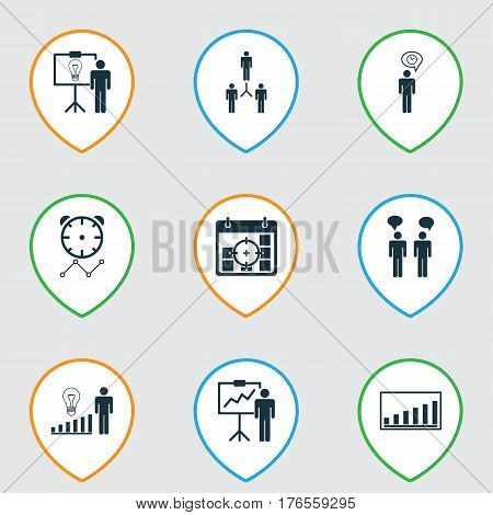 Set Of 9 Administration Icons. Includes Solution Demonstration, Special Demonstration, Decision Making And Other Symbols. Beautiful Design Elements.