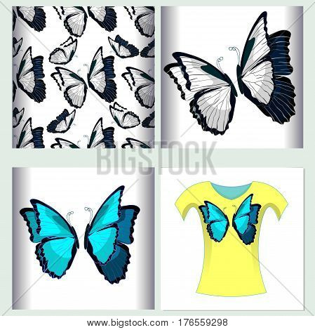 Set for t-shirt design seamless pattern the butterfly blue morpho monarch. vector illustration