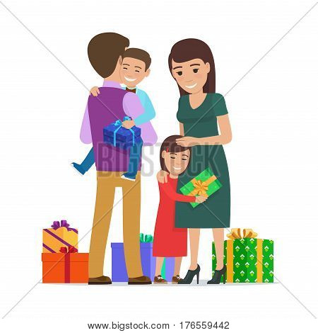 Smiling small boy holding gift box sits on father s hands and present boxes on floor. Girl hugging her mother. Vector illustration of child getting present from parent on holidays. Happy life moments.