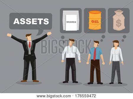Different people have different ideas on financial assets. Cartoon vector illustration on financial assets allocation concept. poster