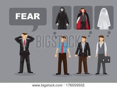 Different people think of different things about Fear. Cartoon vector illustration for concept on adults having different irrational fears.
