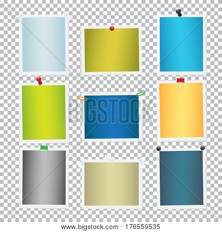 Colorful frames for pictures with pins and clips set. Paper photos vector template attached with pushpins and paperclips to transparent background. Pinned cards or reminders illustrations