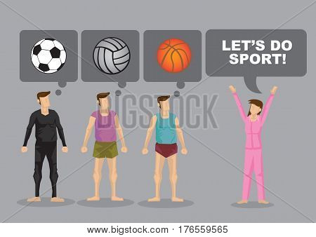 Cartoon woman say Lets Do Sport and cartoon man think about different ball games. Vector illustration to encourage participate in sports.