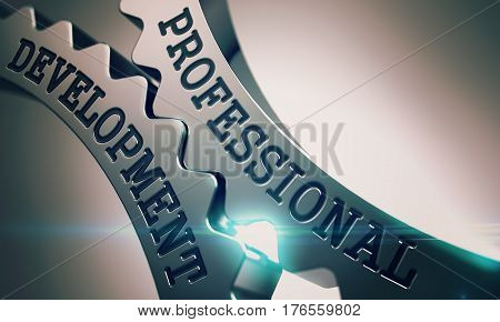 Professional Development on Mechanism of Metallic Cogwheels. Business Concept in Technical Design. Professional Development Shiny Metal Cog Gears - Business Concept. with Lens Flare. 3D Illustration.