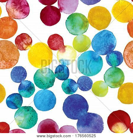 watercolor pattern of circles.It made up of colorful circles of varying intensity and tone. The elements are arranged randomly. Color circles blended.