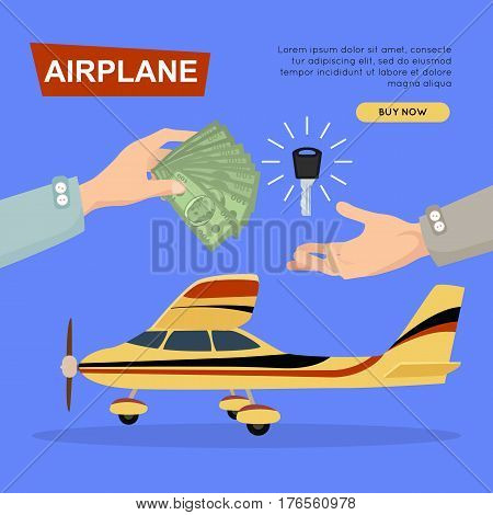 Buying airplane online plane sale by cash. Getting new key web banner vector illustration. Customer buy airplane for transport advertising company. Business agreement in e-commerce concept