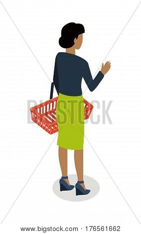 Woman with empty shopping basket standing backwards isometric vector. Shopping daily products concept isolated on white background. Female character template make purchases in grocery store icon