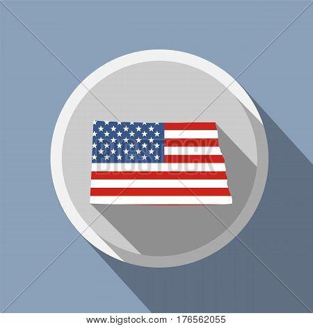 map of the U.S. state of North Dakota. American flag