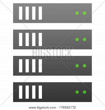 Server vector icon. Flat symbol with gradient. Pictogram is isolated on a white background. Designed for web and software interfaces.