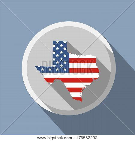 map of the U.S. state of Texas. American flag