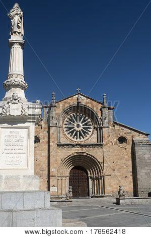 Avila (Castilla y Leon Spain): facade of the historic Santa Teresa church and monument
