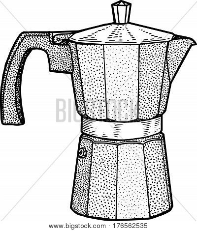Italian coffee maker illustration, drawing, engraving, ink, line art