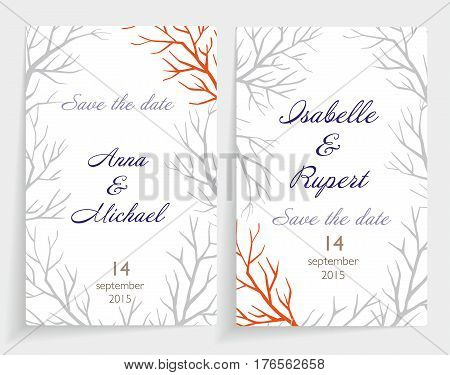 invitation card set. Made with the decor of bare branches around the perimeter. Motives for the autumn and winter.