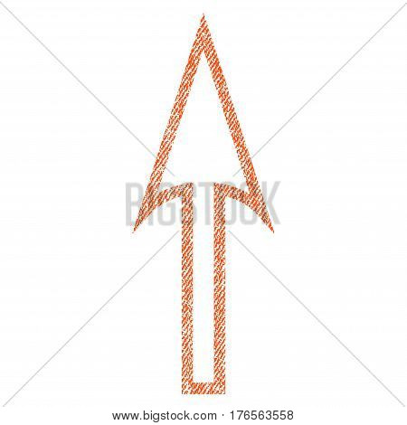 Sharp Arrow Up vector textured icon for overlay watermark stamps. Fabric orange vectorized texture. Symbol with unclean design. Rubber seal stamp with fiber textile structure.