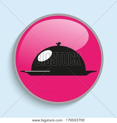 Cooked food on the plate under the hood. Vector icon.