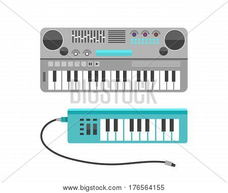 Vintage synthesizer musical equipment flat design vector illustration and classical white black musical keyboard sound instrument harmony art. Entertainment electric player.