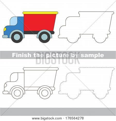 Drawing worksheet for children. Easy educational kid game. Simple level of difficulty. Finish the picture and draw the Lorry
