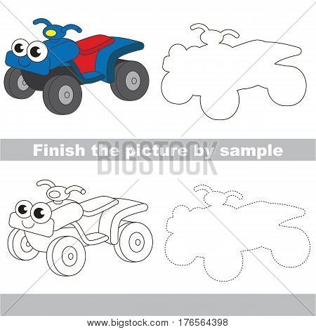 Drawing worksheet for children. Easy educational kid game. Simple level of difficulty. Finish the picture and draw the Funny Quad Bike