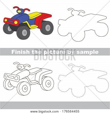 Drawing worksheet for children. Easy educational kid game. Simple level of difficulty. Finish the picture and draw the Quad bike