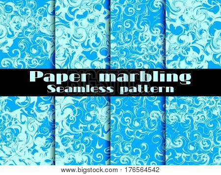 Marbling Seamless Pattern Set. Marbled Paper Watercolor. Drawing On The Water. Grunge Textures. Vect