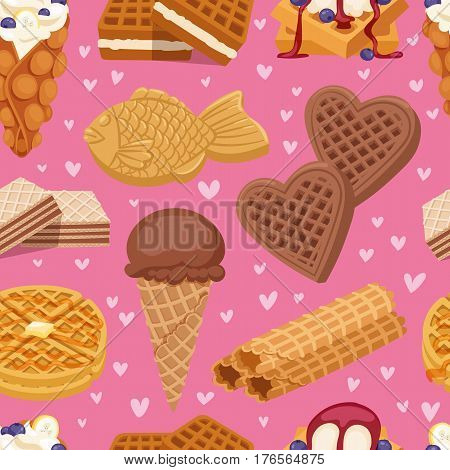 Different wafer cookies waffle cakes and chocolate delicious snack cream dessert crispy bakery food vector seamless pattern