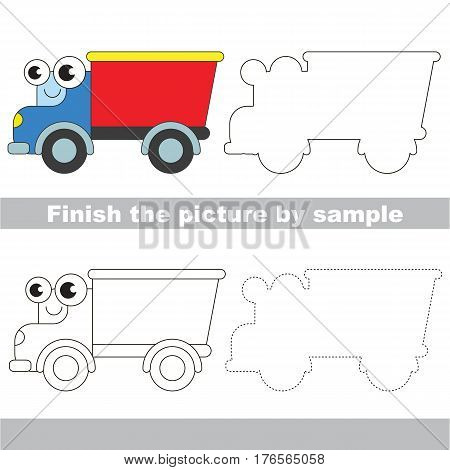 Drawing worksheet for children. Easy educational kid game. Simple level of difficulty. Finish the picture and draw the Funny Lorry
