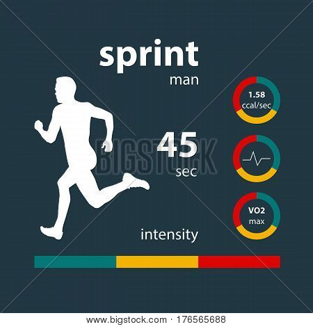 Infographics man running sprint: time intensity calories heart rate oxygen