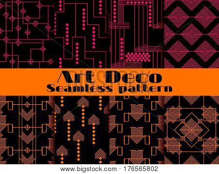 Art deco seamless patterns. Set retro backgrounds. Style 1920's 1930's.