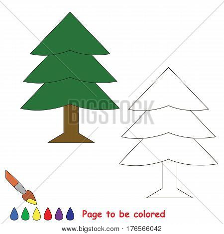 Evergreen Tree to be colored. Coloring book to educate preschool kids with easy kid educational gaming and primary education of simple game level of difficulty.