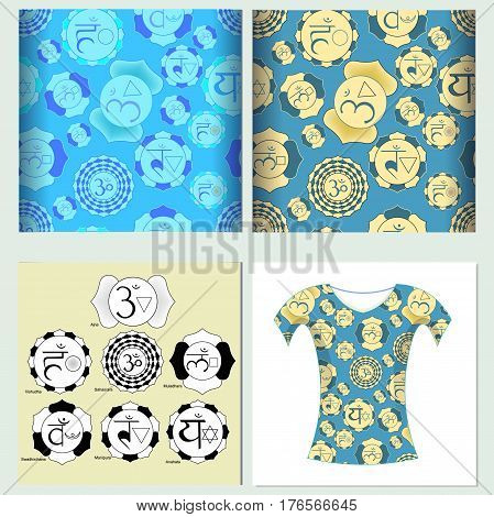 Set Seamless Pattern Design T-shirt India Chakra. Vector Illustration