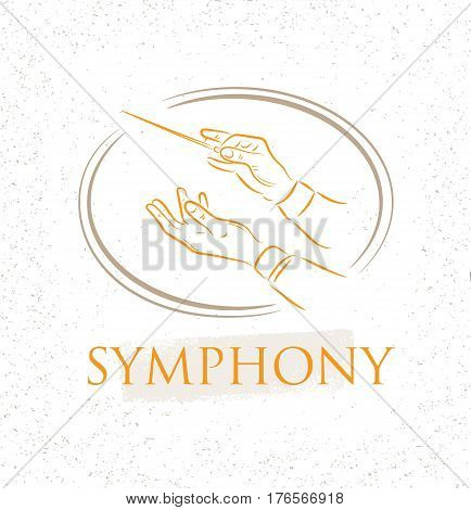 Vector illustration of flat conductor orchestra hands. Colorful chorus conductor concept for your design poster