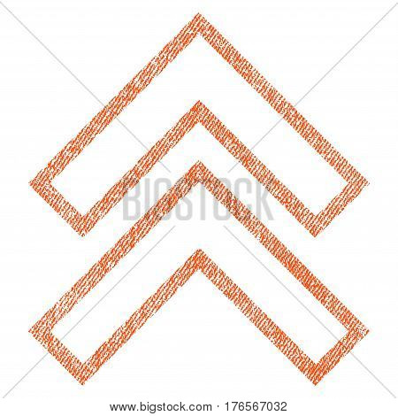 Shift Up vector textured icon for overlay watermark stamps. Fabric orange vectorized texture. Symbol with dust design. Rubber seal stamp with fiber textile structure.