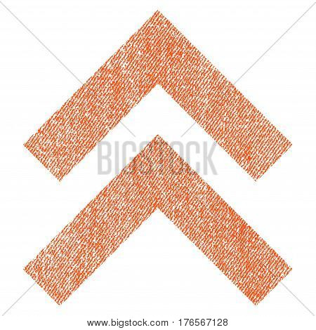 Shift Up vector textured icon for overlay watermark stamps. Fabric orange vectorized texture. Symbol with unclean design. Rubber seal stamp with fiber textile structure.